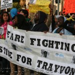 Thousands across the country protest the George Zimmerman shooting of Trayvon Martin and Zimmerman's subsequent acquital. Picture shown is from a march in downtown Los Angeles.