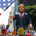 May Day 2016 Protests. Thousands of protestors converged on downtown Los Angeles streets to protest immigration laws and Donald Trump.